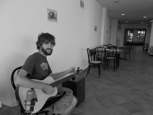 Tuning up for a show in Italy