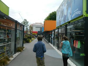 Abbi showing me around the shipping container mall in Christchurch  Photo credit: Aaron Littler